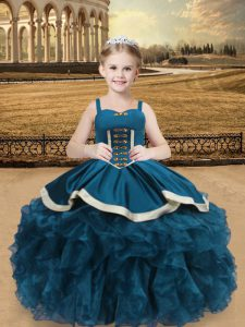 Organza and Taffeta Sleeveless Floor Length Little Girls Pageant Dress and Beading and Ruffles