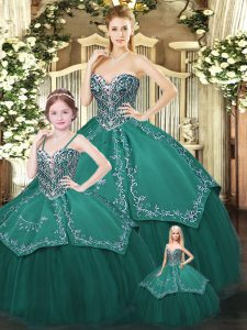Attractive Dark Green Ball Gowns Satin and Tulle Sweetheart Sleeveless Embroidery Floor Length Lace Up Quinceanera Dresses