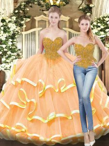 Peach Lace Up Ball Gown Prom Dress Beading and Ruffled Layers Sleeveless Floor Length