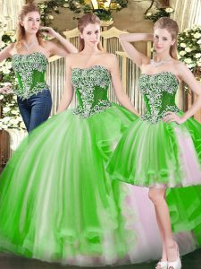 Fantastic Tulle Lace Up Quince Ball Gowns Sleeveless Floor Length Beading