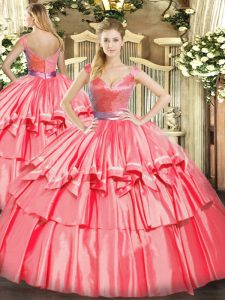 Enchanting V-neck Sleeveless Tulle Quinceanera Dress Beading and Ruffled Layers Zipper