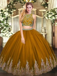 High-neck Sleeveless 15 Quinceanera Dress Floor Length Beading and Appliques Brown Tulle