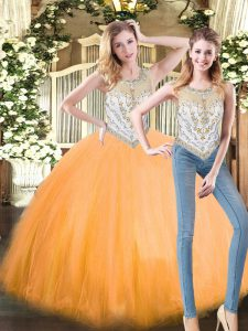 Fitting Two Pieces 15th Birthday Dress Orange Red Scoop Tulle Sleeveless Floor Length Zipper