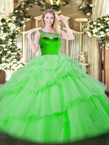 Ball Gowns Beading and Pick Ups Sweet 16 Dresses Zipper Organza Sleeveless Floor Length