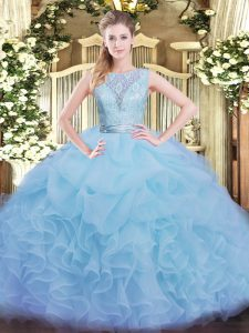 Floor Length Aqua Blue 15 Quinceanera Dress Organza Sleeveless Lace and Ruffles