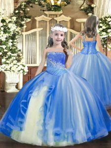Ball Gowns Kids Formal Wear Baby Blue Straps Tulle Sleeveless Floor Length Lace Up