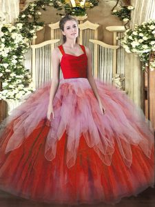 Floor Length Zipper Quinceanera Dress Multi-color for Military Ball and Sweet 16 and Quinceanera with Lace and Ruffles