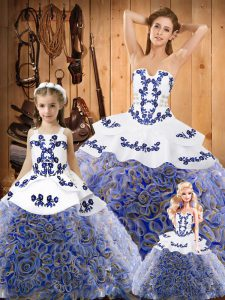 Multi-color Strapless Neckline Embroidery 15 Quinceanera Dress Sleeveless Lace Up