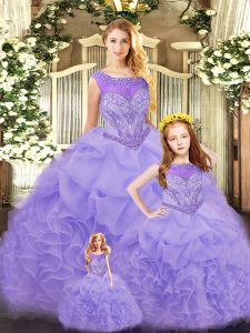 Ruffles 15 Quinceanera Dress Lavender Lace Up Sleeveless Floor Length