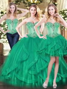 Green Lace Up Sweetheart Beading and Ruffles Sweet 16 Quinceanera Dress Tulle Sleeveless