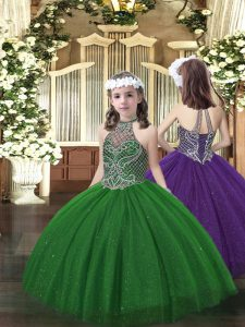Dazzling Ball Gowns Kids Formal Wear Dark Green Halter Top Tulle Sleeveless Floor Length Lace Up
