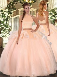 Low Price Sleeveless Organza Floor Length Backless Quinceanera Gown in Peach with Beading