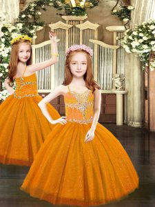 Admirable Tulle Spaghetti Straps Sleeveless Lace Up Beading Kids Formal Wear in Rust Red