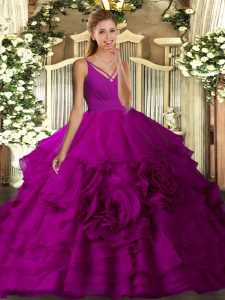 Low Price Fuchsia Organza Backless Sweet 16 Quinceanera Dress Sleeveless Floor Length Beading and Ruffled Layers