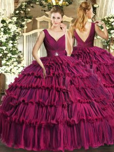 Delicate Fuchsia Ball Gowns Beading and Ruffled Layers 15 Quinceanera Dress Backless Organza Sleeveless Floor Length
