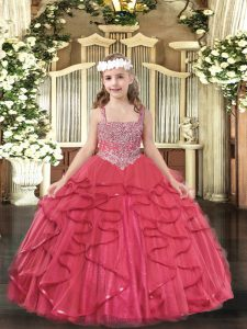 Ball Gowns Little Girl Pageant Gowns Coral Red Straps Tulle Sleeveless Floor Length Lace Up