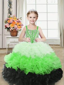 Multi-color Sleeveless Beading and Ruffles Floor Length Little Girls Pageant Dress