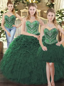 Dark Green Sweet 16 Quinceanera Dress Military Ball and Sweet 16 and Quinceanera with Beading and Ruffles Sweetheart Sleeveless Lace Up