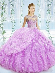 Shining Lilac Ball Gown Prom Dress Sweetheart Sleeveless Brush Train Lace Up