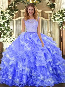 Lace and Ruffled Layers Vestidos de Quinceanera Blue Clasp Handle Sleeveless Floor Length
