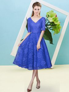 Captivating Royal Blue Empire Lace V-neck Half Sleeves Bowknot Tea Length Lace Up Dama Dress for Quinceanera