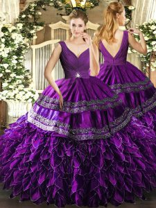 Captivating Sleeveless Organza Floor Length Backless Quinceanera Dress in Eggplant Purple with Beading and Ruffles and Ruching