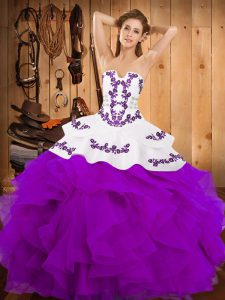 Strapless Sleeveless Quinceanera Dress Floor Length Embroidery and Ruffles Purple Satin and Organza