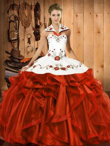 Halter Top Sleeveless Lace Up Quinceanera Gowns Rust Red Satin and Organza