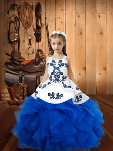 High End Blue Straps Neckline Embroidery and Ruffles Winning Pageant Gowns Sleeveless Lace Up