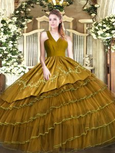 Brown V-neck Zipper Embroidery and Ruffled Layers Quinceanera Gown Sleeveless