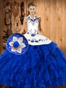 Blue And White Sleeveless Satin and Organza Lace Up Quinceanera Dress for Military Ball and Sweet 16 and Quinceanera