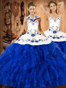 Blue And White Halter Top Neckline Embroidery and Ruffles Quinceanera Gown Sleeveless Lace Up