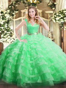 Stylish Apple Green 15 Quinceanera Dress Military Ball and Sweet 16 and Quinceanera with Ruffled Layers V-neck Sleeveless Zipper