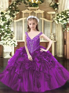 Ball Gowns Pageant Dress Toddler Purple V-neck Organza Sleeveless Floor Length Lace Up