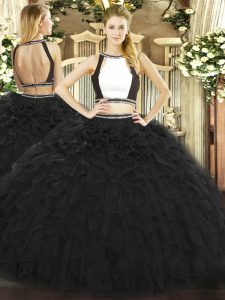 Black Two Pieces Tulle Halter Top Sleeveless Ruffles Floor Length Backless 15th Birthday Dress