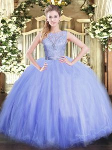 Floor Length Lavender Quinceanera Dress Tulle Sleeveless Lace