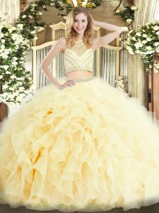 Trendy Light Yellow Sleeveless Beading and Ruffles Floor Length Quinceanera Dress