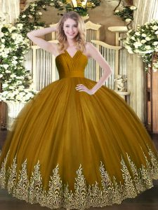 Tulle V-neck Sleeveless Zipper Appliques Sweet 16 Dresses in Brown