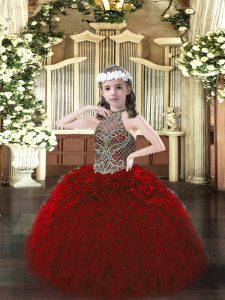 Custom Made Sleeveless Floor Length Beading and Ruffles Lace Up Little Girl Pageant Dress with Wine Red