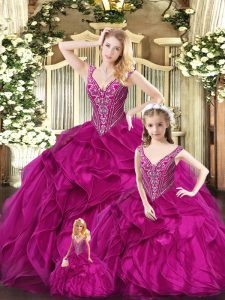 Attractive Ruffles Quinceanera Gowns Fuchsia Lace Up Sleeveless Floor Length