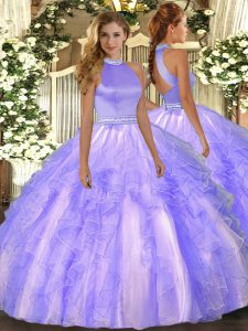 Halter Top Sleeveless Backless Quince Ball Gowns Lavender Organza