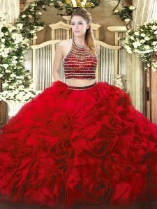 Sweet Red Sleeveless Tulle Zipper Ball Gown Prom Dress for Military Ball and Sweet 16 and Quinceanera