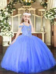 Unique Off The Shoulder Sleeveless Child Pageant Dress Floor Length Beading Blue Tulle