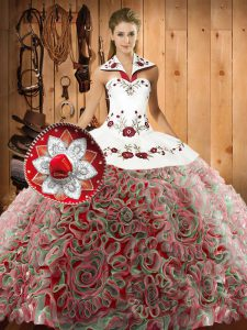 Halter Top Sleeveless Fabric With Rolling Flowers Quinceanera Dresses Embroidery Sweep Train Lace Up