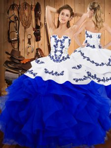 Colorful Sleeveless Satin and Organza Floor Length Lace Up Sweet 16 Quinceanera Dress in Blue And White with Embroidery and Ruffles