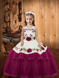 Fuchsia Ball Gowns Organza Straps Sleeveless Embroidery and Ruffled Layers Floor Length Lace Up Little Girls Pageant Gowns