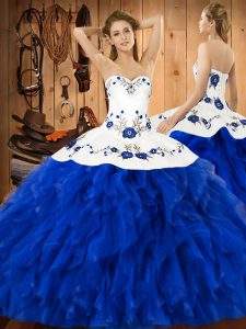 Sleeveless Embroidery and Ruffles Lace Up Sweet 16 Dresses