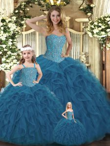 Affordable Teal Organza Lace Up Sweetheart Sleeveless Floor Length 15 Quinceanera Dress Beading and Ruffles