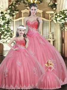 Sweetheart Sleeveless Lace Up Vestidos de Quinceanera Watermelon Red Tulle