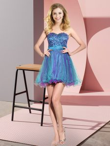 Multi-color Sweetheart Lace Up Beading and Sequins Quinceanera Court Dresses Sleeveless